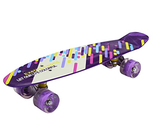 IRIS Complete Cruiser Skateboard with Colourful Light Up Wheels for Boy and Girl with Super Smooth PU Wheels, High Speed Bearing...
