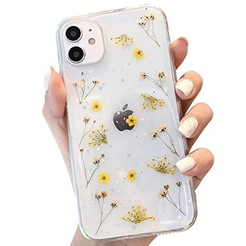Tybiky Carcasa para iPhone 12 Mini, diseño de flores reales de silicona suave con flores secas, transparente, ultrafina, inmortal, para iPhone 12 Mini, diseño de flores trituradas, color amarillo