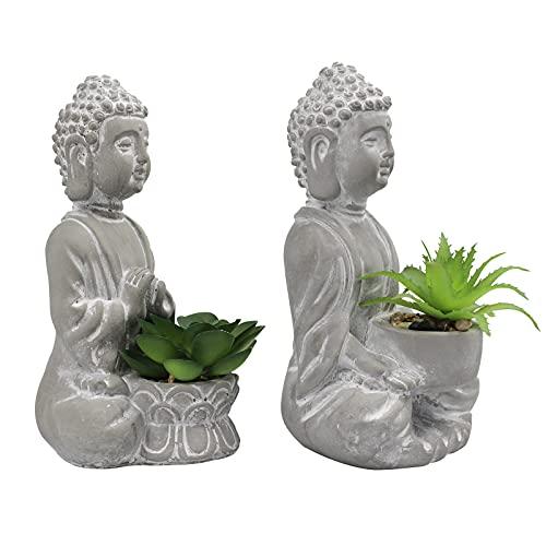 Buddha Succulents Artificial Decoration Zen Decor Cement Buddha Statue Office/Home Decor 2 PCS Grey White Wash