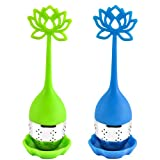 2 Pcs Tea Infuser Filter, Leaf Tea Ball Strainer Infuser with Flower Shaped Silicone Handle and Drip Tray for Loose Leaf or Herbal Tea