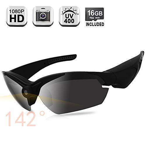 1080P HD versteckte Kamera-Brille Body Camcorder mit 140 Grad Weitwinkel, unterstützt Fotoaufnahme, UV400 polarisierte Brillengläser, 16 GB Speicherkarte integriert