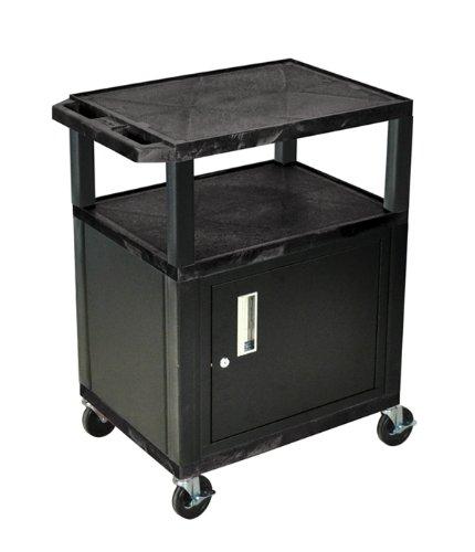 H WILSON WT34C2E 3-Shelf AV Cart with Cabinet, Tuffy, Black