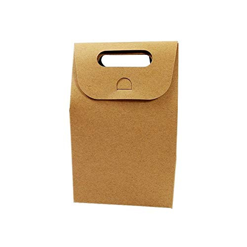 Con 50 unids / lote postre caja de embalaje boda marrón y blanco kraft bolsa de papel en blanco cajas de regalo de cumpleaños bolsas de caramelo suministros de fiesta ( Color : Brown )
