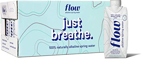 Flow Alkaline Spring Water, Organic Plain, 100% Natural Alkaline Water pH 8.1, Electrolytes + Essential Minerals, Eco-Friendly Pack, 100% Recyclable, BPA-Free, Non-GMO, Pack of 24 x 330ml