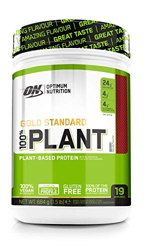 Optimum Nutrition Gold Standard 100 Percent Plant Vegan and Gluten Free Protein Powder with Vitamin B12, Essential Amino Acids, Natural Occurring BCAAs and Glutamine, Berry, 19 Servings, 684 g