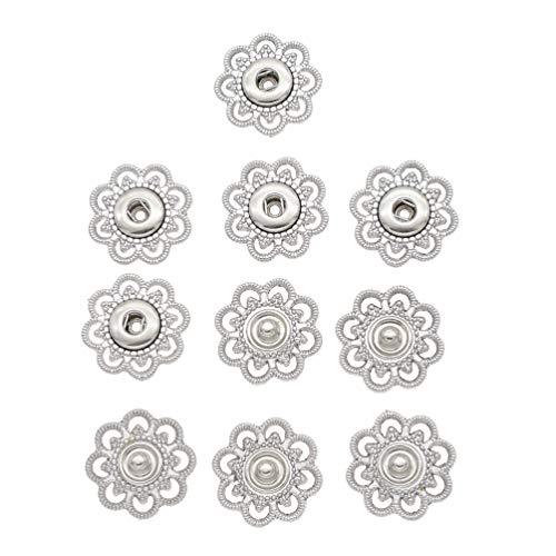 Hongma 5 Stück Blumen Druckknöpfe Buttons Schwarz Silber Gold für DIY Basteln Durchmesser 21mm