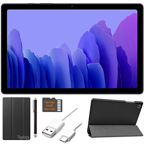 2020 Samsung Galaxy Tab A7 10.4'' (2000x1200) TFT Display Wi-Fi Tablet Bundle, Qualcomm Snapdragon 662, 3GB RAM, Bluetooth, Dolby Atmos Audio, Android 10 OS w/Tigology Accessories (32GB, Gray)