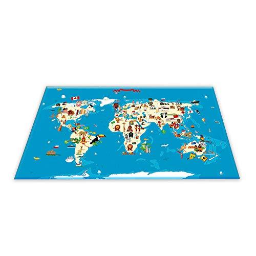 Alfombra de aprendizaje para niños, diseño de mapamundi, alfombra para habitación infantil con mapa, 180 x 280 cm