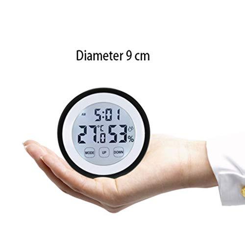MSNDD Haushaltsthermometer Hygrometer Messgerät Alarmwetterstation Uhrwand Touch-Taste C/F Weißer Durchmesser 9 Cm Anzeigezeit