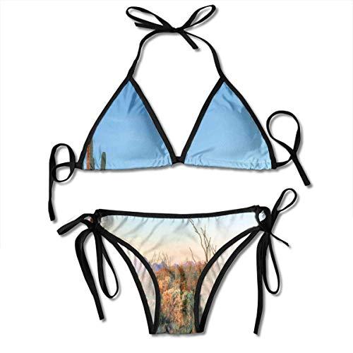Bikini para Mujer, Sun Goes Down in Desert Prickly Pear Cactus Southwest Texas National Park, Traje de baño de Dos Piezas