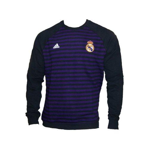Adidas Real Madrid t-tshirt coton rayé violet / noir - noir, Fibres mélangées, XL