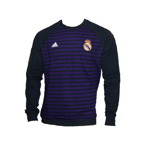 adidas Real Madrid Herren Pullover Sweatshirt lila/schwarz gestreift Cotton L