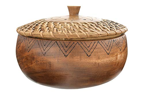 """Bloomingville 9.5"""" Round Woven Rattan & Acacia Wood Container with Lid Schüssel, braun"""