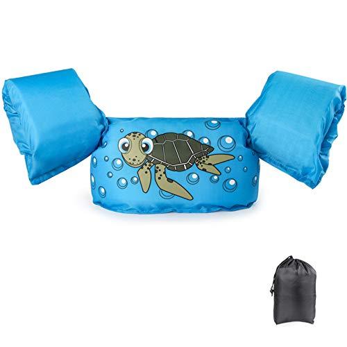Schwimmflügel Schwimmweste mit Schultergurt für Kinder Kleinkinder von 2-7 Jahre 15-30kg Schwimmen Lernen Schwimmhilfe mit verschiedenen Designs für Jungen und Mädchen (Schildkröte)