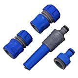 N\A 4pcs / Set Conector de la Manguera de jardín de tuberías Conectores de Agua con Rosca Macho for Grifo Ajustable Boquilla de pulverización Pistola de Agua (Color : Blue)