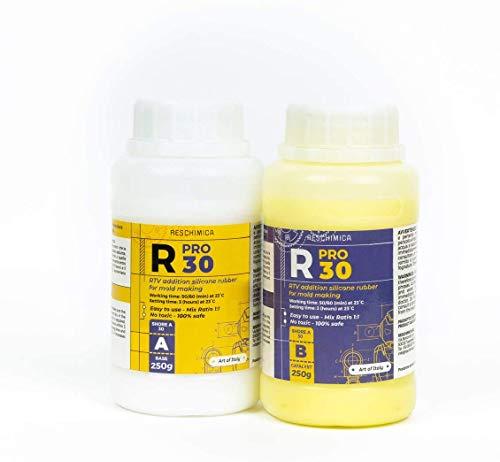 RESCHIMICA R PRO 30 ist EIN Silikonkautschuk, 100% sicher, ungiftig, Platin-Härter flüssig, hohe Härte, hohe Reißfestigkeit, einfach zu verwenden (Mischungsverhältnis 1: 1) (500)