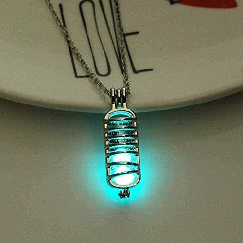 AOAOTOTQ Co.,ltd Collar, Collar de Piedra Luminosa, Botella de Mujer, Que Brilla en la Oscuridad, Collar con Colgante, bisutería chapada en Plata