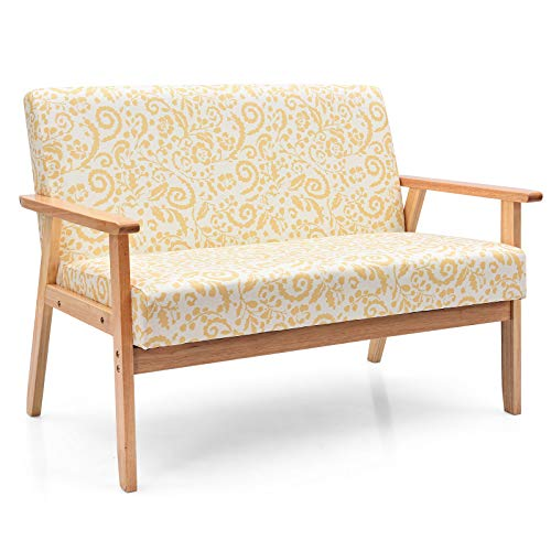 Giantex Mid-Century Wooden Loveseat, Upholstered Wooden Lounge Accent Chair w/Rubber Wood, Pretty Pattern, 2-Seat Arm Sofa Couch Chair for Living Room Bedroom Office (Yellow, Loveseat)