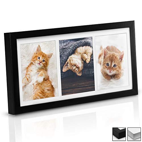 bomoe Bilderrahmen Galeria für 3 Fotos 13x18 cm - Fotorahmen aus Holz, Kunststoffglas, Metall-Aufhängung & Passepartout Multirahmen für Bilder Collagen - Schwarz