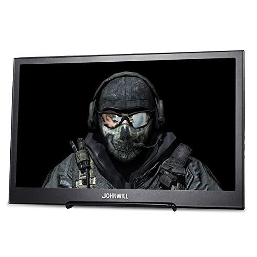 13,3 Zoll Gaming tragbarer Monitor IPS-Bildschirm Full HD 1920 x 1080 Monitor tragbare ultradünne Schwarze Metallschale Eingebauter Lautsprecher, Kompatibel mit Laptop,PC Monitor,JOHNWILL