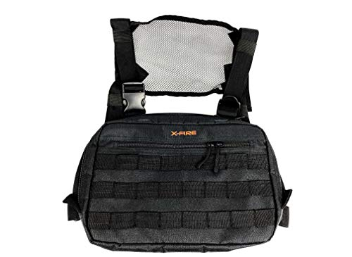 X-FIRE MOLLE Tactical Chest Pack Pouch Tool Bag with Dual Radio Pockets and Antenna Ports, Zippered Organizer Pockets, Internal EDC Utility Slots for IFAK EMT/EMS Medical Supplies or Concealed Carry.