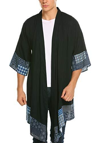 COOFANDY Men's Ruffle Shawl Collar Cotton Cardigan Long Kimono Jackets Open Front Drape Cape Coat Dark Grey