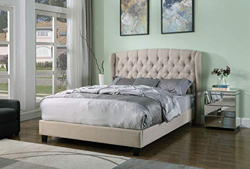 Best Master Furniture Yvette Upholstered Tufted with Wingback Platform Bed King Beige