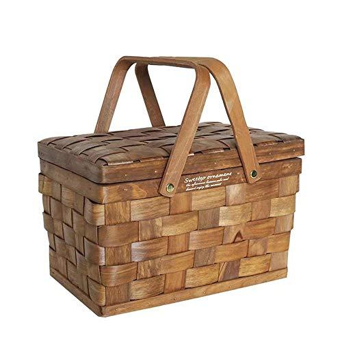 NLYWB Picknick-Korb, tragbar, handgeflochtener Holzfaser-Aufbewahrungskorb mit doppelten, klappbaren Griffen, ideal für Picknicks im Park, Camping und Konzerte im Freien B