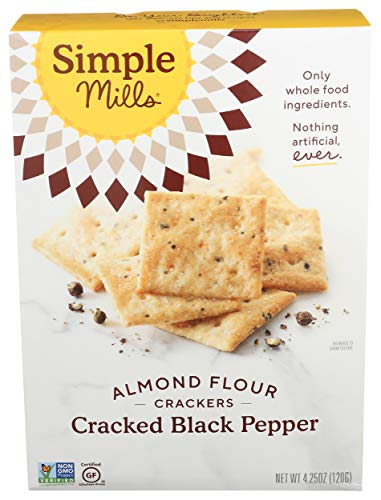 Simple Mills Almond Flour Crackers, Black Cracked Pepper, Gluten Free, Flax Seed, Sunflower Seeds, Corn Free, Good for Snacks, Made with whole foods, (Packaging May Vary)