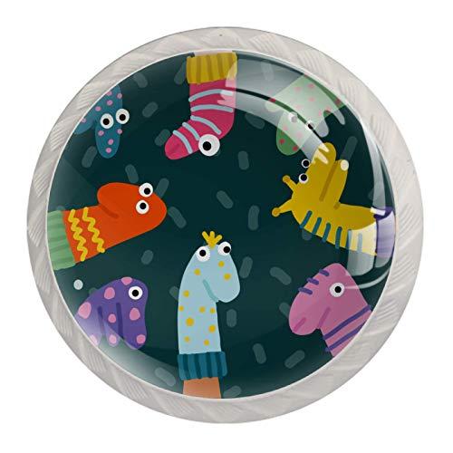Perillas de mesillas de noche Marionetas De Calcetines Divertidos Perillas de los cajones del tocador Perillas de baño hippie para bebé, paquete de 4 3.5×2.8CM