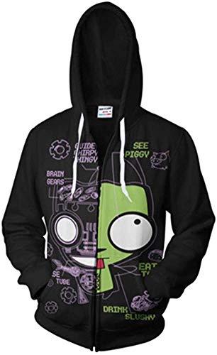 Invader Zim Hoodie 3D Impreso Cosplay Sweater Disfraz Halloween, S-3XL