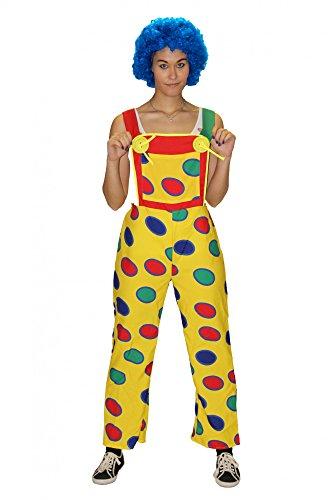Foxxeo Gelbe Clown Latzhose mit bunten Punkten für Damen Clownhose lustiges Kostüm für Fasching Karneval Motto-Party Größe S-M