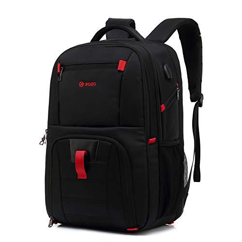 Grote rugzak, schooltassen met USB opladen poort canvas rugzak Oxford doek waterbestendige rugzak 15.6'' laptop