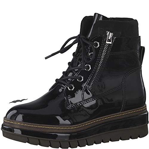 Tamaris Damen Stiefel, Frauen Schnürstiefel, Woman Freizeit leger Boots Combat schnürung weiblich Lady Ladies Women's,Black PATENT,39 EU / 5.5 UK