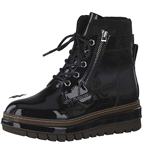 Tamaris Damen Stiefel, Frauen Schnürstiefel, leger Boots Combat schnürung weiblich Lady Ladies Women's Women Woman,Black PATENT,37 EU / 4 UK