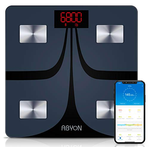 ABYON Bluetooth Smart Bathroom Scales for Body Weight Digital Body Fat Scale,Auto Monitor Body Weight,Fat,BMI,Water, BMR, Muscle Mass with Smartphone...