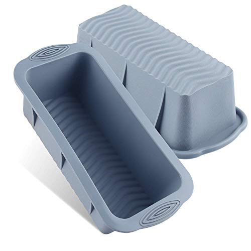 Esportic Silikon Brot-backform/Kastenform, 2stk Backform Rechteckig aus Silikon, Antihaftende Silikon Backform Kuchenform Eckig, Küchenbackwerkzeuge für Kuchen und Brote - 25 ×12×6.8 cm