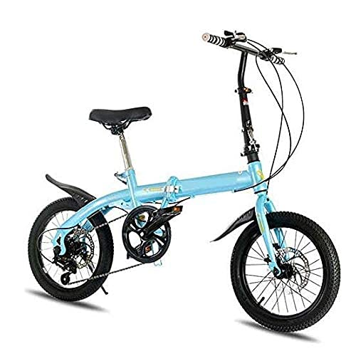HUAQINEI Bicicleta Plegable Uni, Bicicleta Plegable Ultraligera, Bicicleta de Pedales Plegable Urbana, aleación de Aluminio, Manillar y Asiento Ajustables, Azul
