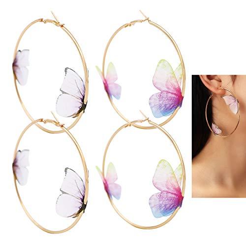 2pares Pendientes de Aros Grandes con Mariposa Pendientes Dorados de Aleación para Mujer Diámetro 75mm