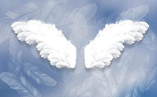 White Angel Wings Papel tapiz no tejido Papel tapiz 3D Decoración de pared Murales Sala de estar Pared Pintado Papel tapiz 3D Decoración dormitorio sala sofá mural-350cm×256cm
