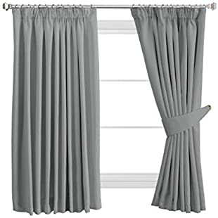"""H.Versailtex Solid Thermal Insulated Blackout Pencil Pleat Anti - Mite Curtains for Bedroom with Two Free Tiebacks - Grey, Energy Saving & Noise Reducting, 66"""" Width x 54"""" Drop, Set of 2 pieces"""