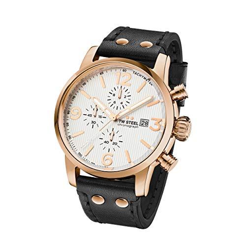 TW Steel Unisex Erwachsene Chronograph Quarz Uhr mit Leder Armband MS73