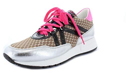 Noclaim Damen Sneaker Runner Sole 27 Wechselfussbett Leder schwarz-Silber-beige-pink EU 38