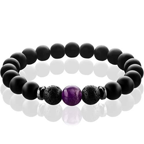 FABACH™ Chakra Perlenarmband mit 8mm Amethyst-Perle, Lavastein und Onyx-Naturstein (schwarz) - Yoga Armband aus 21 Heilsteinen - Energiearmband für Damen und Herren