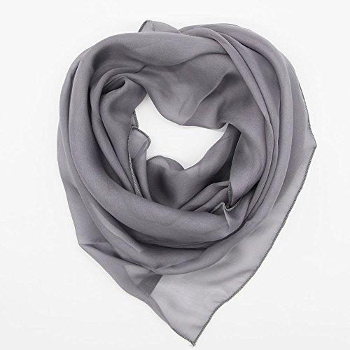 シルク100%スカーフ小さめ【Sサイズ】95×65cmバンダナバッグネッカチーフポケットチーフ首もと暖か(ミディアムグレー)絹UV防寒シフォン天然素材[InstyleJapan]