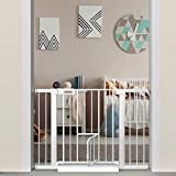 Extra Wide Baby Gate with Small Cat Door - Walk Through Safety Gates for Kids and Pet - Double Locking Child Gates 51.5'-54.3' Inch Wide