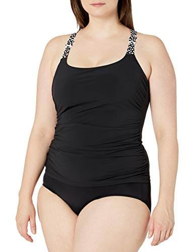 Profile by Gottex Damen Novelty Strap Scoop Neck Cup Sized Tankini Top Swimsuit Tankinioberteil, Set Sail Black, 80D