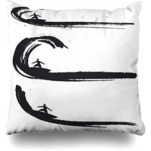 Funda de almohada FLDONG con diseño de olas de surf y olas de surf y jinetes de vacaciones, California, hawaiano, surfista, deporte, estilo vintage, onda, océano, playa, 18 x 18 cm