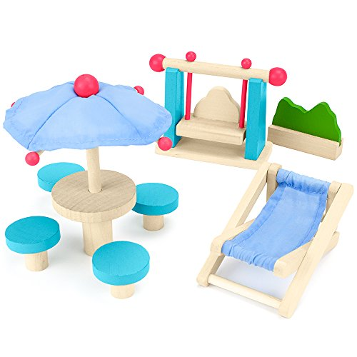 Imagination Generation Wooden Wonders Playful Patio Set, Colorful Dollhouse Furniture (8pcs.) | Mini Doll House Accessories and Furniture | Kids Toy for Girls and Boys of All Ages