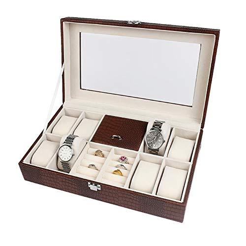 Sieradenorganizer box - juwelendoosje horloge oorbellen ringen halsketting bewaren PU-behuizing met zichtbaar acrylglas koffie